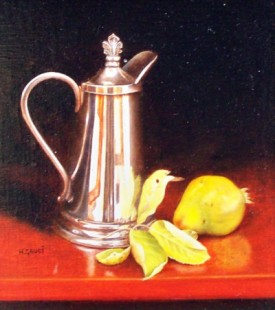 SILVER COFFEE POT & PEARS