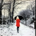 RED COAT IN WINTER